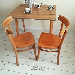 Rétro Formica Abattants Cuisine Table À Manger 2 Chaises En Bois Cintré D'origine