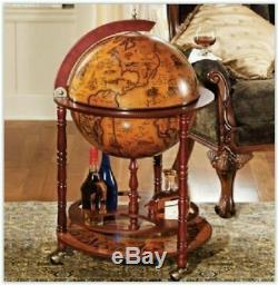 Retro Globe Vin, Bouteille Roues Cabinet, Boissons Bois Vintage Trolley Mini Bar Uk