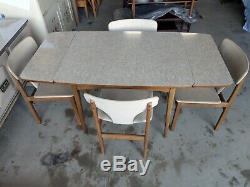 Rétro Incroyable Rare Extension Unique Cuisine Table 4 Chaise Sièges