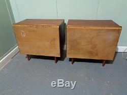 Rétro Paire De Teck Stag Chevet Armoires Vintage Pot Rangements Siècle MID