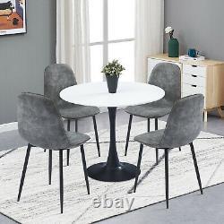 Rétro Petite Table À Manger Et 4 Chaises Faux Suede Ensembles De Cuisine En Tissu En Détresse