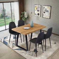 Rétro Rectangulaire Table À Manger Et 4 Chaises En Cuir Faux Cuisine Salon