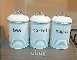 Rétro Tea Coffee Sugar Kitchen Storage Canisters Jars Pots Tin Set Air Tight LID