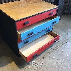 Rétro Vintage En Bois Old School Art Tiroirs Craft Storage Pop