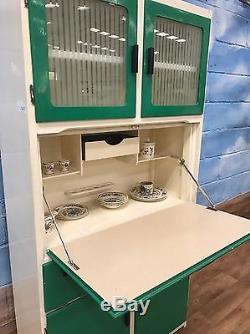Rétro Vintage Rétro 50's Quinconfort Meuble Cuisinière Cuisinière En Vert Et Blanc