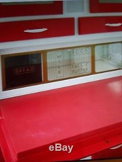 Rétro Vintage Unité De Cuisine / Larder / Pantry Cupboard 1950's. Rouge Et Blanc