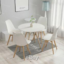 Round Table Et 4 Rembourrée Tuilp Chaises Set Bois Cuisine Salon Bureau Café