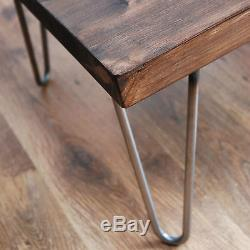 Rustic Vintage Industrial Table De Café En Bois Massif - Pieds En Épingle À Cheveux En Métal Nu, Sombre