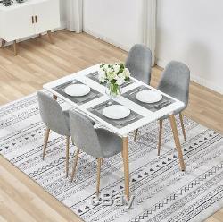 Salle À Manger En Bois Table Et 4 Chaises Gris Tissu Lin Retro Meubles De Cuisine Maison