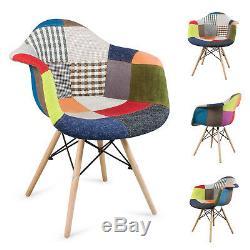 Salle À Manger Rectangulaire Table Et 4 Fauteuils Patchwork Chair Fabric Set Study Mdf Tub