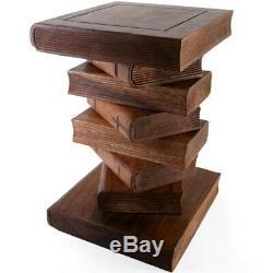 Sculpté À La Main En Bois D'acacia Miel Stacked Livre Table D'appoint En Bois Tabouret Pied De Lampe