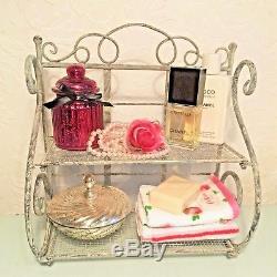Shabby Chic Shelf Unit Vintage Rangement En Métal Rustique Rangement Armoire De Salle De Bains