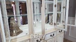 Shabby Chic Vintage Peint Grand Commode Vitrine Armoire Miroir Arrière