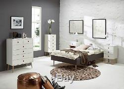 Steens Soft Line Designer Commode Large Rétro Moderne 3 Tiroirs En Blanc Et Chêne