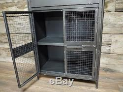 Stockage De Cabinet De Table D'extrémité De Côté Récupéré Vintage Industriel En Métal Rétro (dx4556)