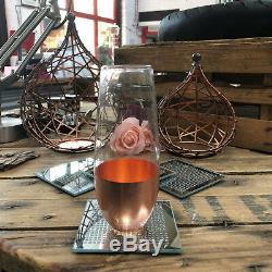 Strass Étincelle Miroir Verre Boit Vin Tasse De Café Tasse Tapis De Table Dessous De Verre