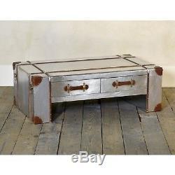 Style Rétro Vintage De Table Basse En Cuivre En Aluminium Industriel Avec Deux Tiroirs
