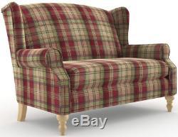 Suivant Sherlock Petite Sofa 2 Sieges Wingback Fauteuil Tweedy Check Morcott Rouge Nouveau