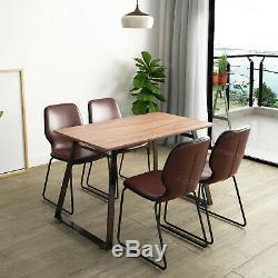 Table À Manger, 4 Chaises Capitonnées Set Faux Pieds En Métal En Cuir Vintage Industriels