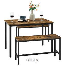 Table À Manger Avec 2 Bancs 3 Pièces Cuisine Set De Table Multifonctions Kdt070b01