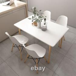 Table À Manger Blanche Et Chaises 4 Ensemble Jambes En Bois Salle À Manger Kitchen Office Desk