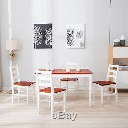 Table À Manger En Bois Massif De Pin Et 4 Chaises De Salle À Manger De Cuisine