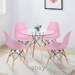 Table À Manger En Verre De 90cm Et 4 Chaises Ensemble Wood Legs Home Kitchen Lounge Seat Rose