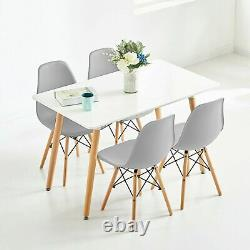 Table À Manger Et 4 Chaises Set Wooden Legs Retro Dining Room Chairs Grey Kitchen