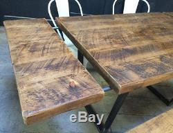 Table À Manger Extensible Calia Style Vintage Retro Industrial Reclaimed Plank Top