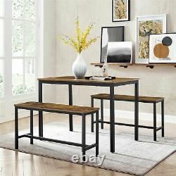 Table À Manger Industrielle Set 3 Rustic Metal Furniture Vintage Kitchen Bench Nouveau
