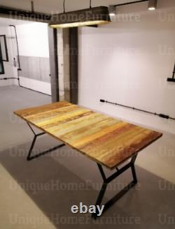 Table À Manger Industrielle Vintage Retro Furniture Grande Cuisine Rustique En Bois Métal
