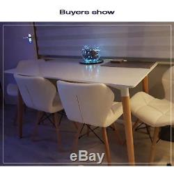 Table À Manger Rétro Rectangulaire Et 4/6 Chaises Eiffel En Bois Blanc Jambe Salle À Manger