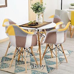 Table À Manger Ronde De 80 CM Et 2/4 Chaises Ensemble Patchwork Wood Legs Fabric Kitchen Uk