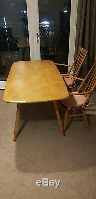 Table À Manger Vintage Ercol Et 6 Chaises D'une Qualité Exceptionnelle En Orme Lumière