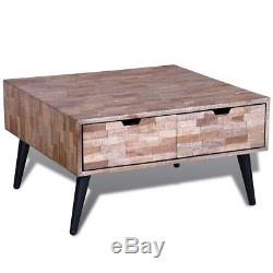 Table Basse Avec 4 Tiroirs Récupérés En Teck À La Main Meubles De Salon