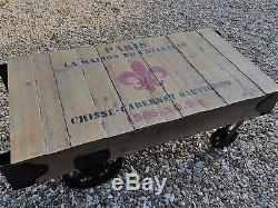 Table Basse De Style Industriel Rétro Vintage Français Antique En Bois Métal Rustique