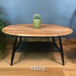 Table Basse Ercol Vintage Rétro MID Century Ovale Ovale Noire Rénovée