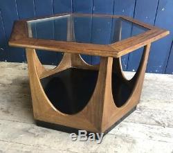 Table Basse Hexagonale Rare En Verre Rétro Plan G Années 60 MID Century Livraison