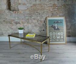 Table Basse Vintage En Laiton Et En Verre De Style Maison Jansen 1960 / 70s