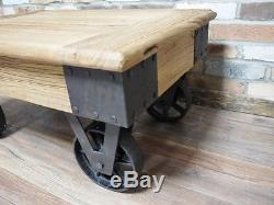 Table Basse Vintage En Métal Récupéré Industriel En Métal Sur Des Roues (dx4494)