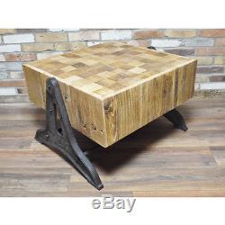 Table Basse Vintage En Métal Récupéré Industriel En Métal (d4609)