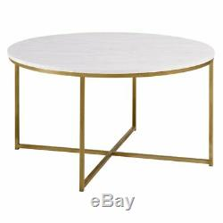 Table Basse Vintage Meuble Salon En Bois Rond Plat En Métal Doré Cadre Neuf