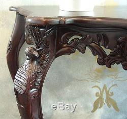 Table Console Table D'appoint Latéral En Bois Acajou Style Baroque Vintage Sculptée Marron