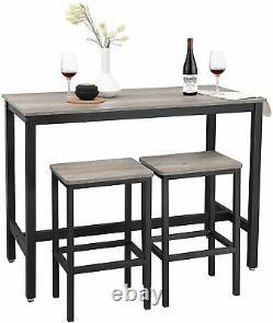 Table De Bar Industrielle Et 2 Tabourets Vintage Tall Petit Déjeuner Rustique Cuisine À Manger