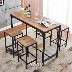 Table De Bar Vintage Mdf Et 4 Tabourets Set De Petit-déjeuner Industriel