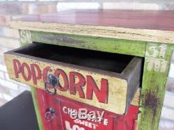Table De Chevet Graphique En Bois D'acacia Et Rangement, Armoire De Bureau Rustique