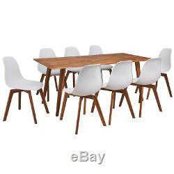 Table De Salle À Manger 8 Places Et Chaises Set Grande Table De Réunion Sièges Blancs Style Rétro