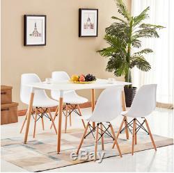 Table De Salle À Manger De Rectangle Et 4/6 Blancs Chaises De Style Rétro De Conception En Bois D'eiffel Eiffel Dsw