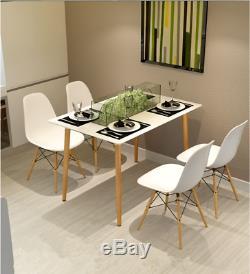 Table De Salle À Manger De Style Eiffel Blanc Et 4 Chaises Ensemble De Bureau À Domicile De Jambes En Bois Massif