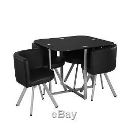Table De Salle À Manger En Verre Noir De Panana Et 4 Chaises En Cuir D'unité Centrale